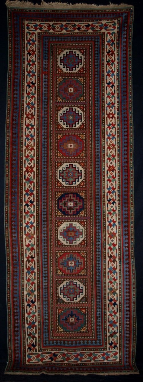 antique caucasian talish long rug moghan design 19th century