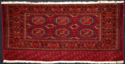 antique tekke turkmen chuval with salor design great colour late 19th century