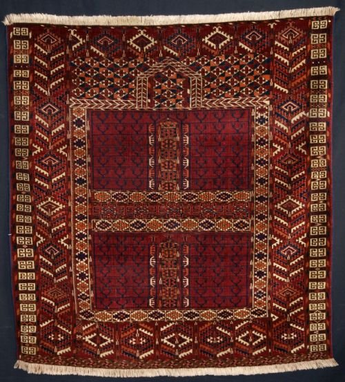 antique tekke turkmen ensi deep red colour circa 1900