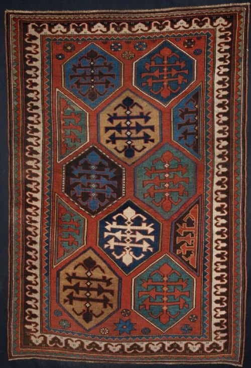 antique caucasian gendje kazak rug great design colour even wear 4th quarter 19th century