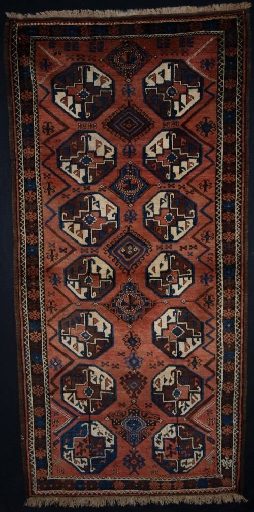 antique tribal baluch rug with large size guls superb colour 4th quarter 19th century