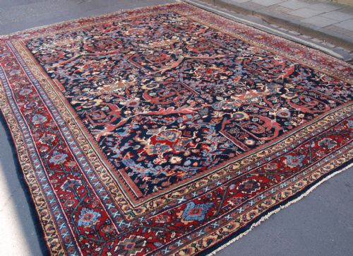 antique mahal carpet large size with stunning design colour circa 1900