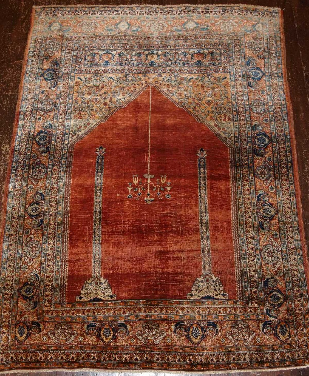 antique turkish silk prayer rug ottoman transylvanian design late 19th cent