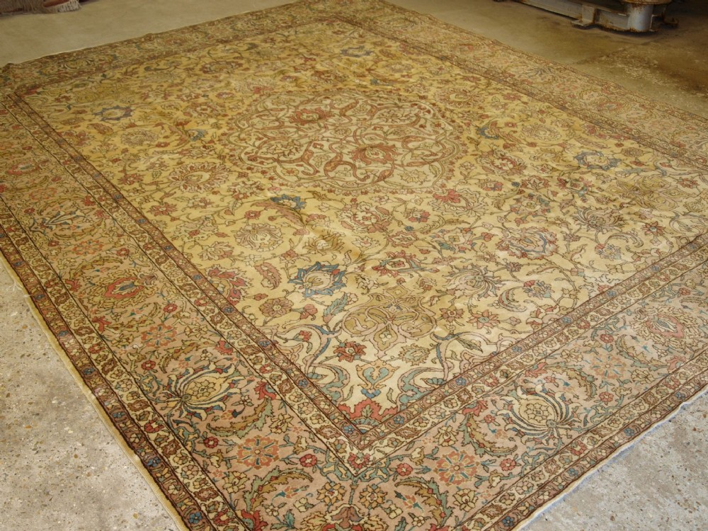 antique benlian tabriz carpet superb example very soft c0lours circa 1920