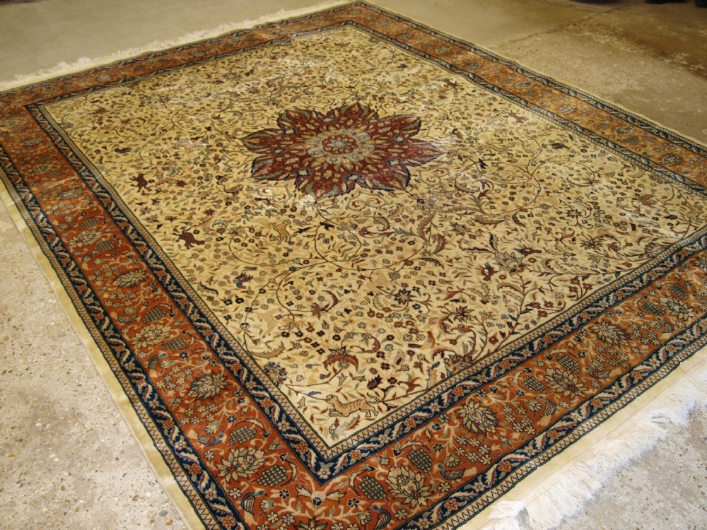 old tabriz carpet hunting design birds and animals soft clours 40 years old