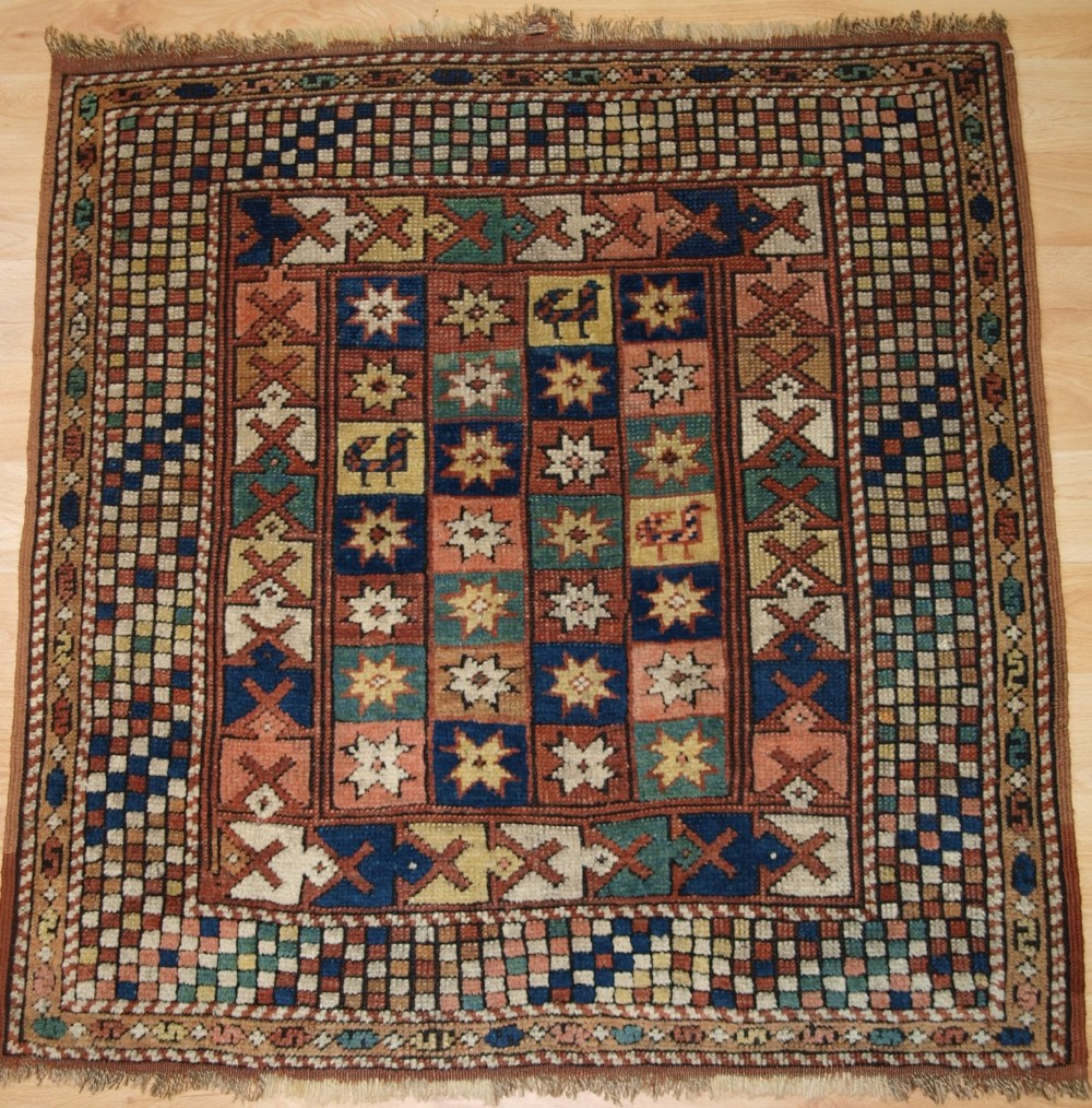 antique turkish bergama rug of small square size 4th quarter 19th century
