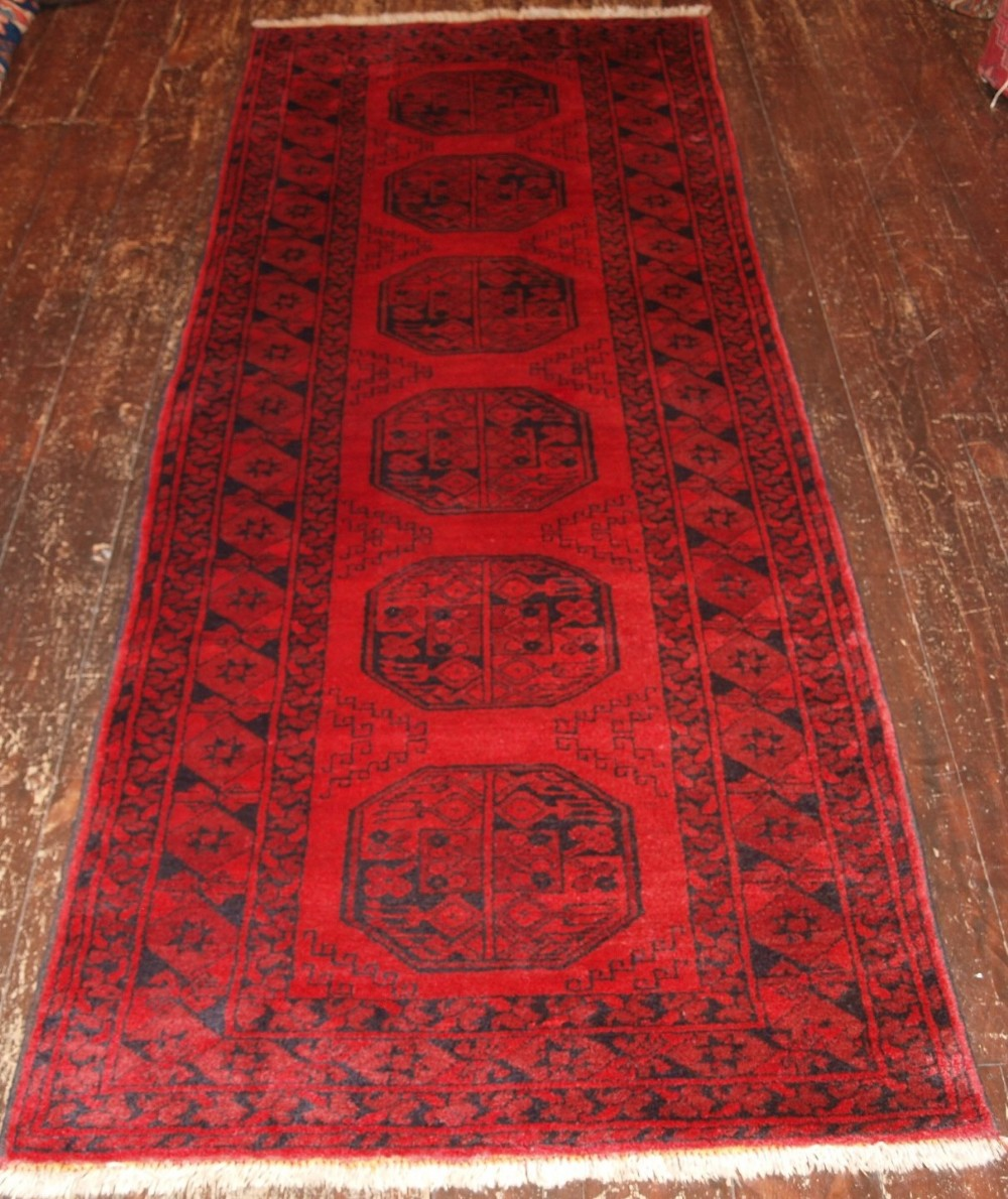 old afghan runner of traditional design very hard wearing about 60 years old