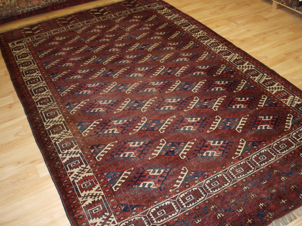 antique yomut turkmen main carpet excellent colour 4th quarter 19th cent
