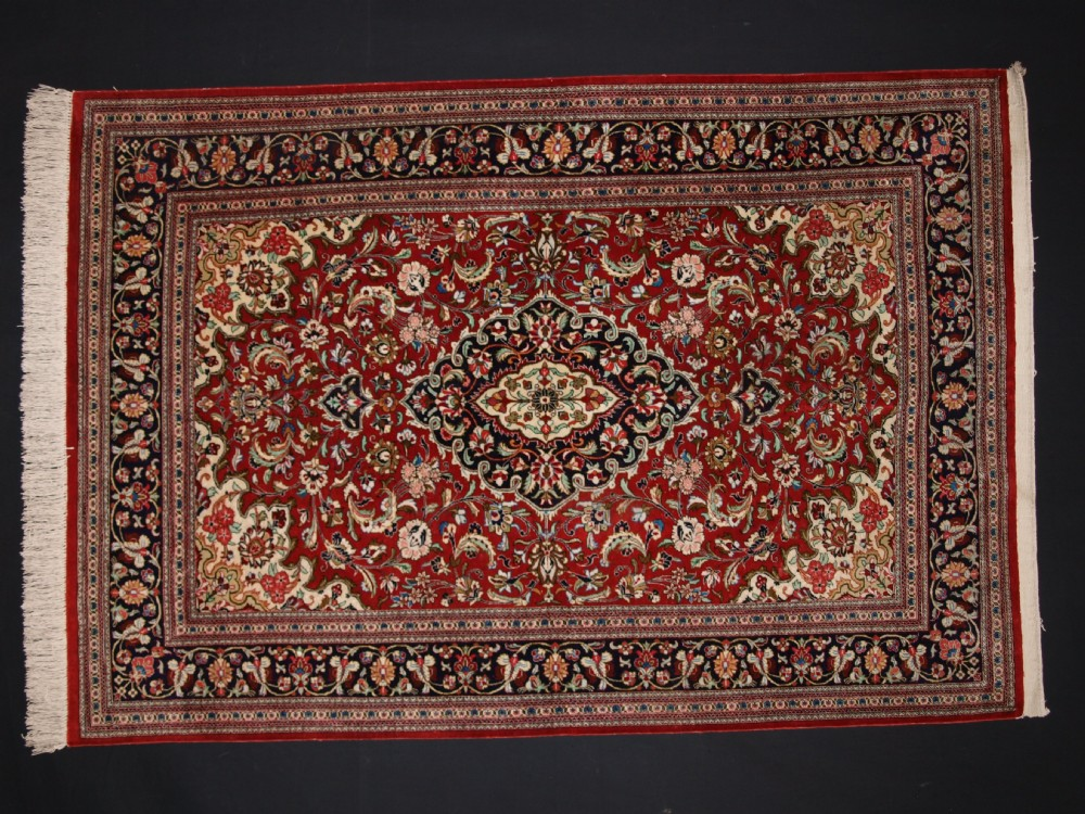 fine old persian qum silk rug with floral design about 40 years old