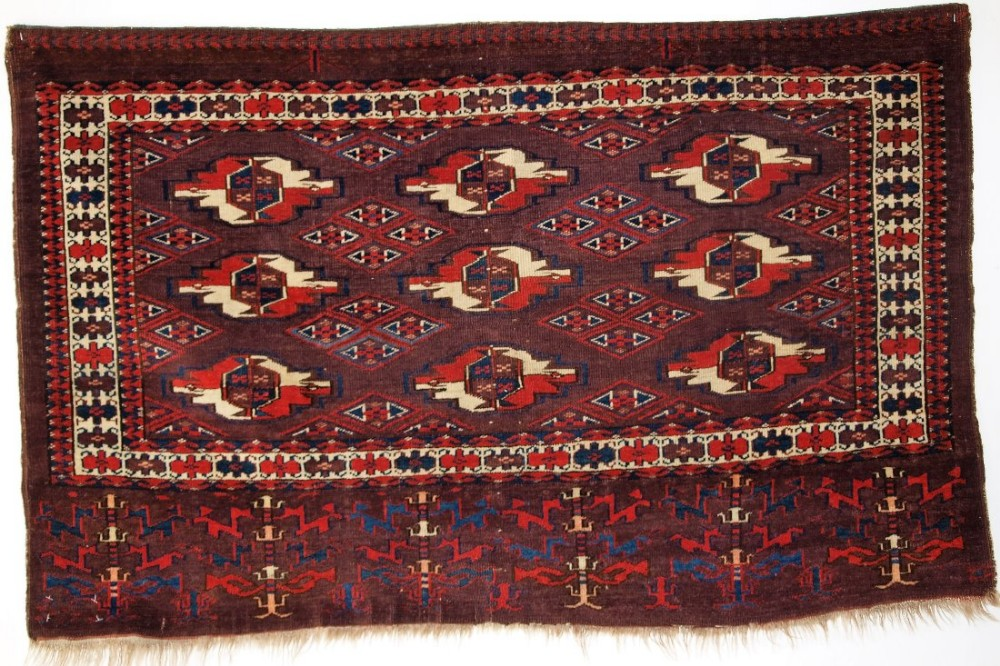 antique yomut turkmen 9 gul chuval great colour superb elem design circa 1870
