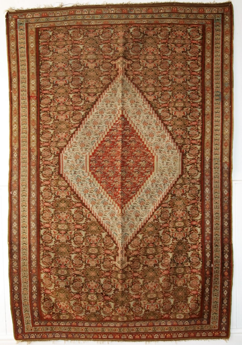 antique persian senneh kilim very fine weave beautiful design circa 1900