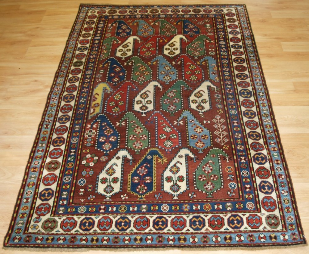 antique caucasian karabagh rug with large boteh design superb colour late 19th century