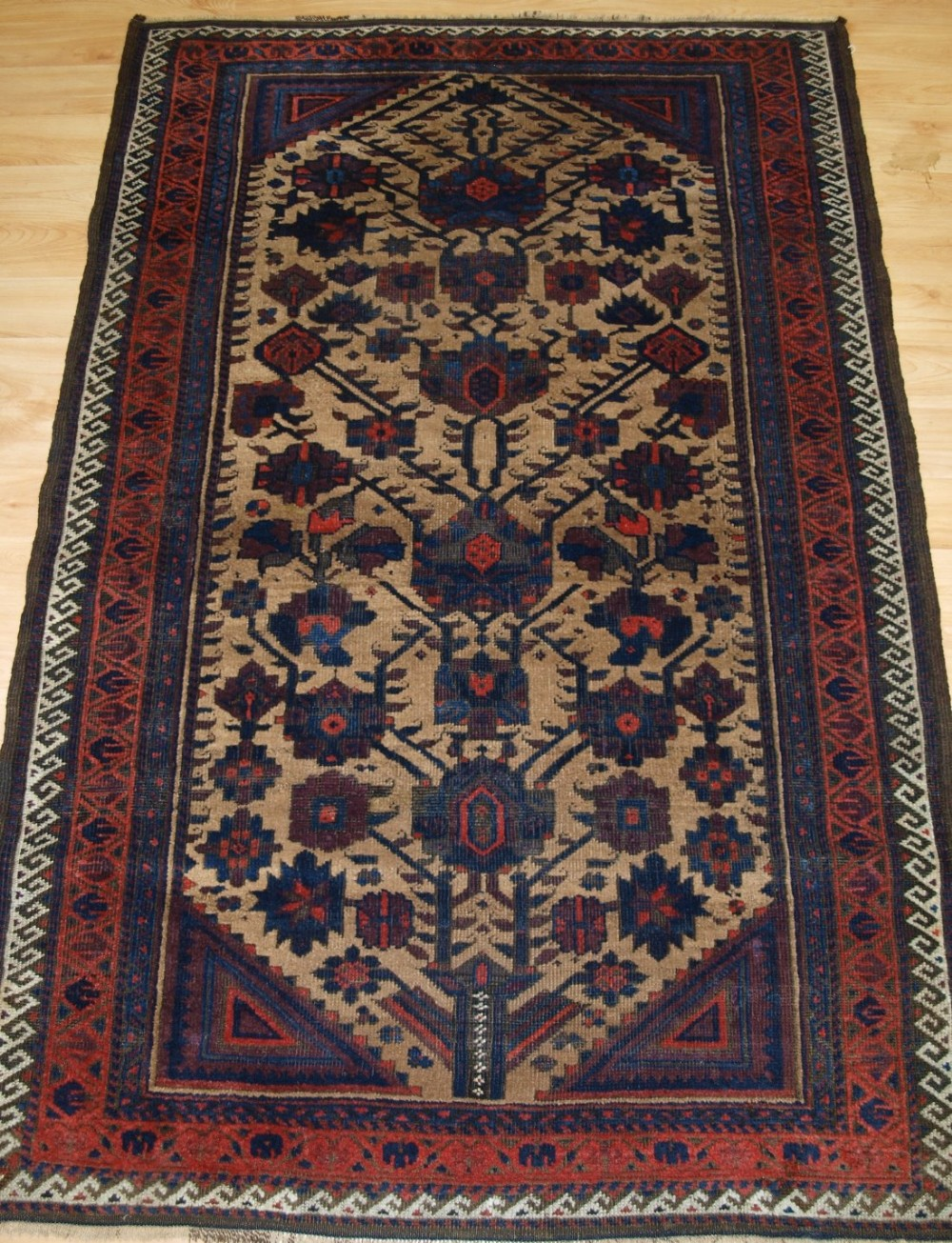 antique baluch rug from ferdows region camel ground classic design circa 1900