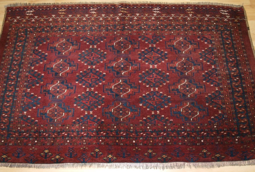 antique ersari turkmen chuval 12 gul design superb full pile condition circa 1900