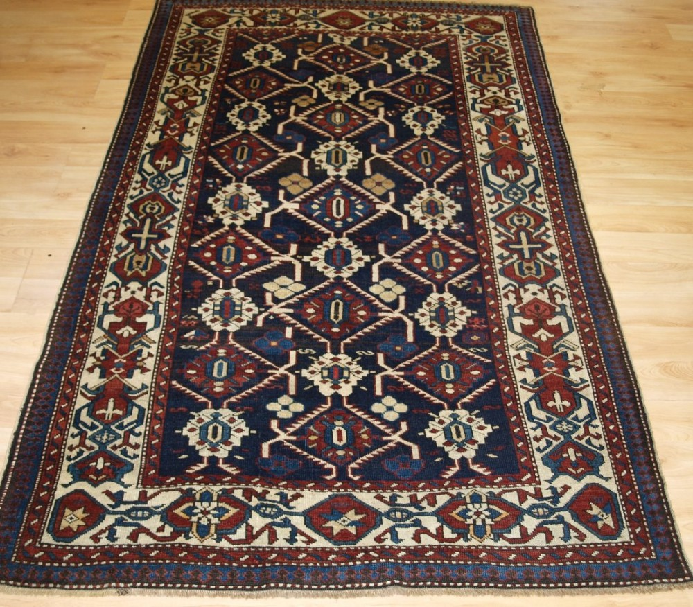 antique caucasian kuba shirvan rug wonderful border design late 19th century