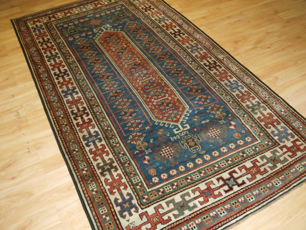 antique south caucasian kazak rug very soft colours circa 1900