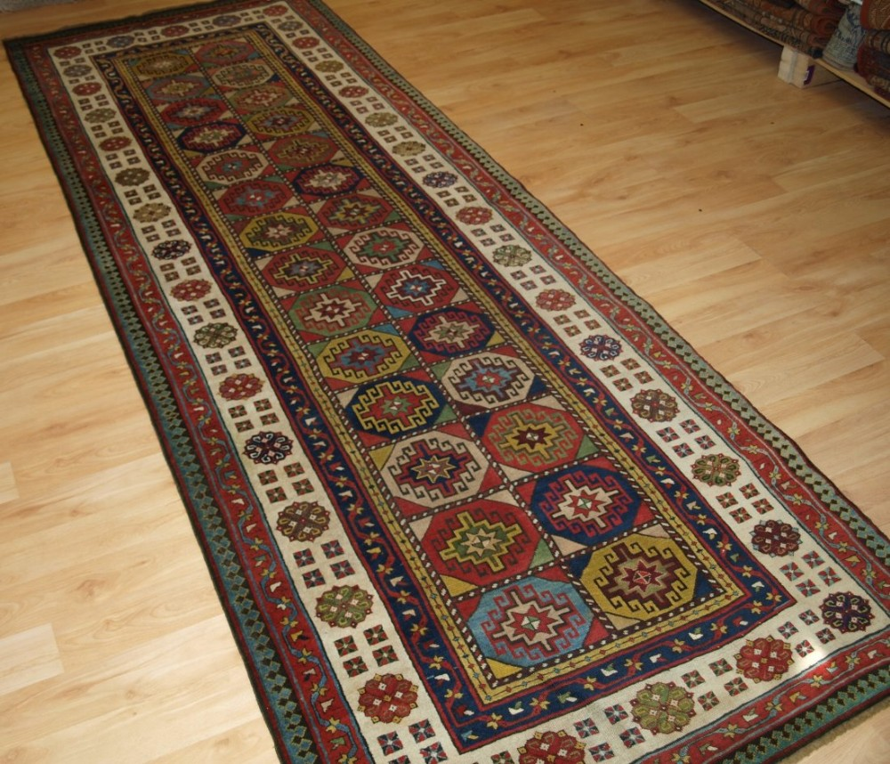 antique caucasian talish long rug with memlinc gul design superb colours 2nd half 19th century