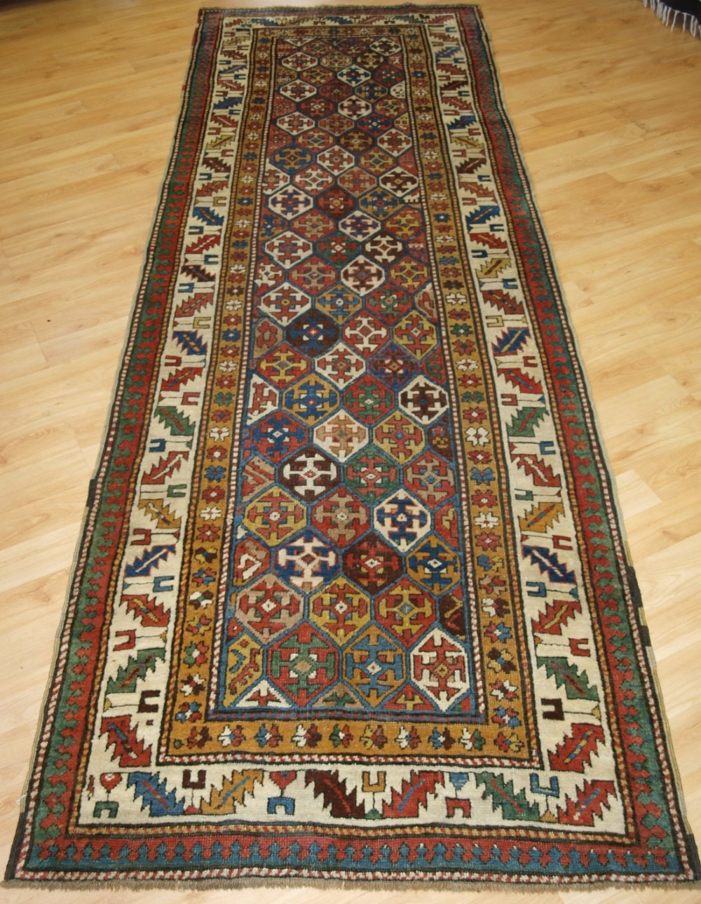 antique caucasian shirvan runner with lattice design circa 1880