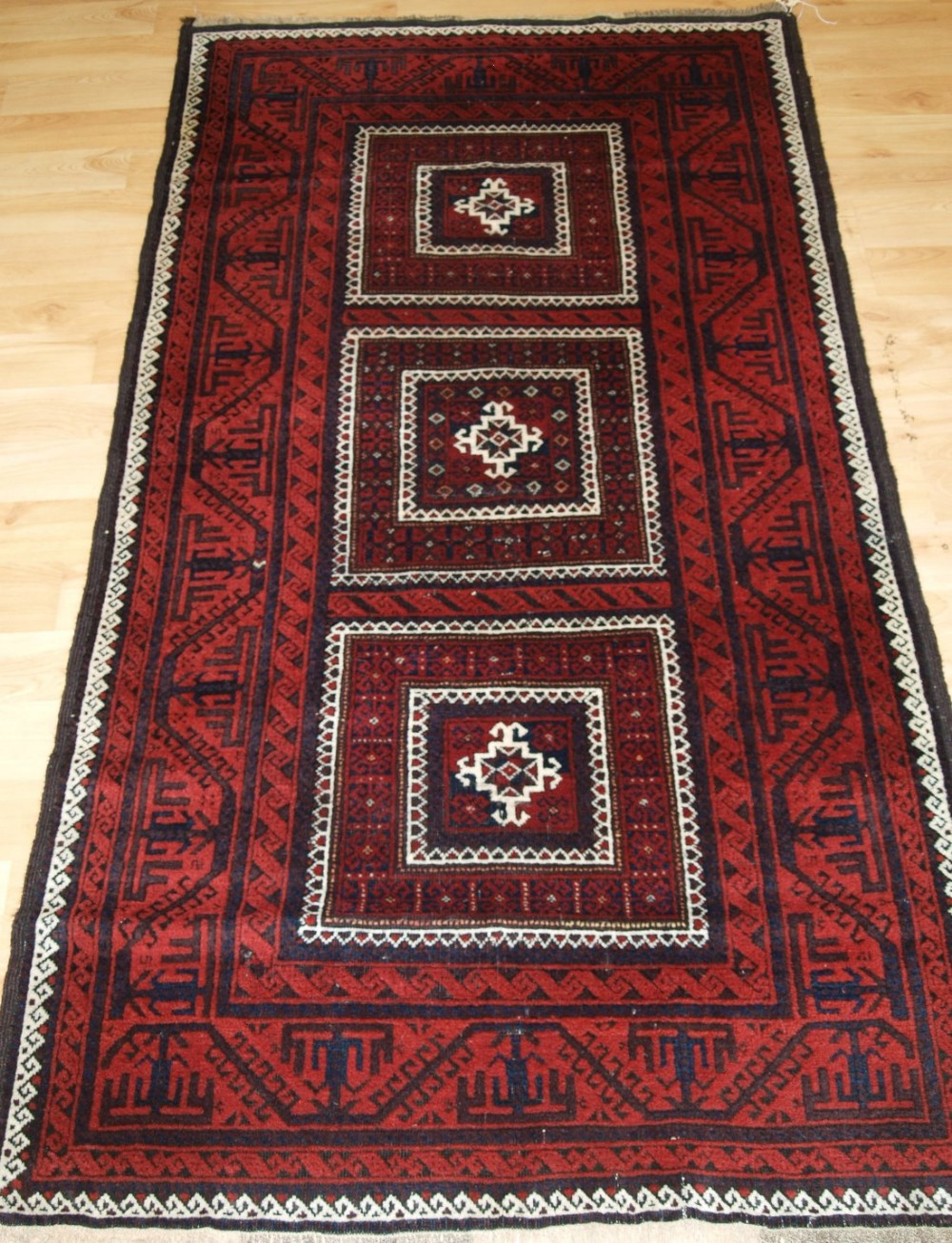 antique baluch rug compartment design great colour condition circa 1900