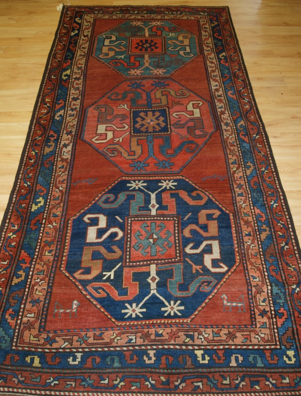antique caucasian karabagh village rug with cloud band kazak design circa 1880