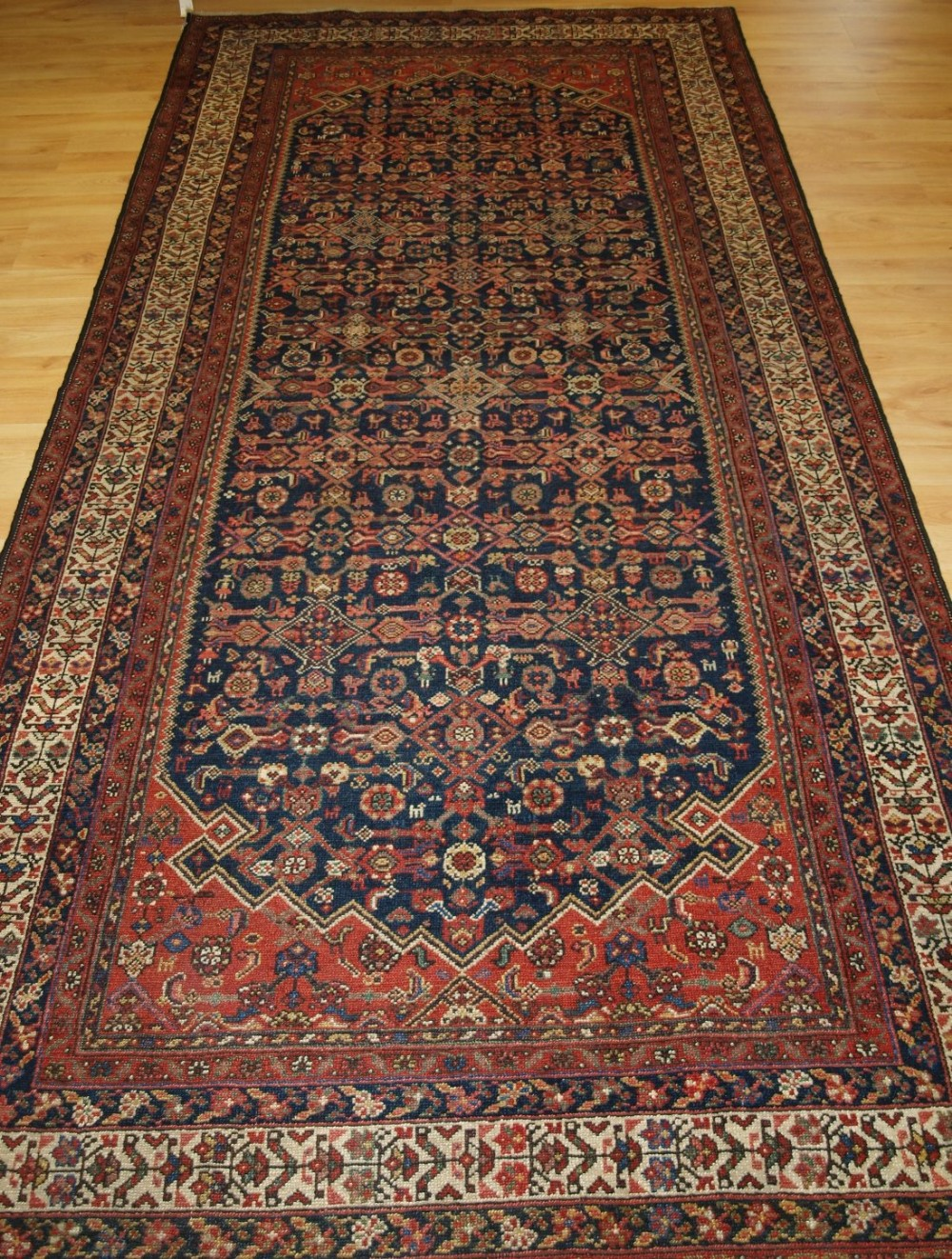 antique north west persian malayer long rug or kelleh people and animals circa 1900