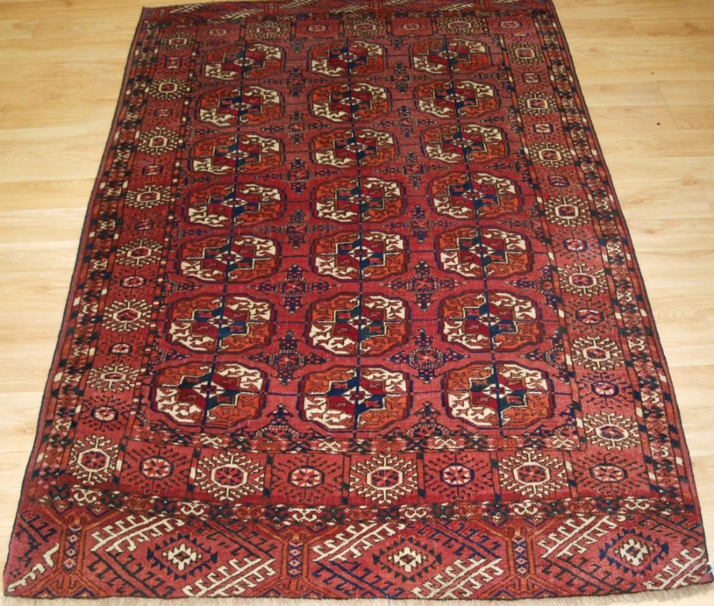 antique tekke turkmen 'dip khali' rug soft pinkred colour great condition circa 1900