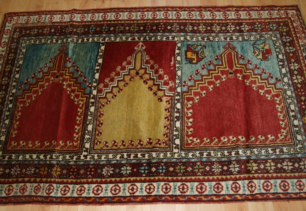 old turkish mudjur multi niche saf prayer rug velvet like wool circa 1920