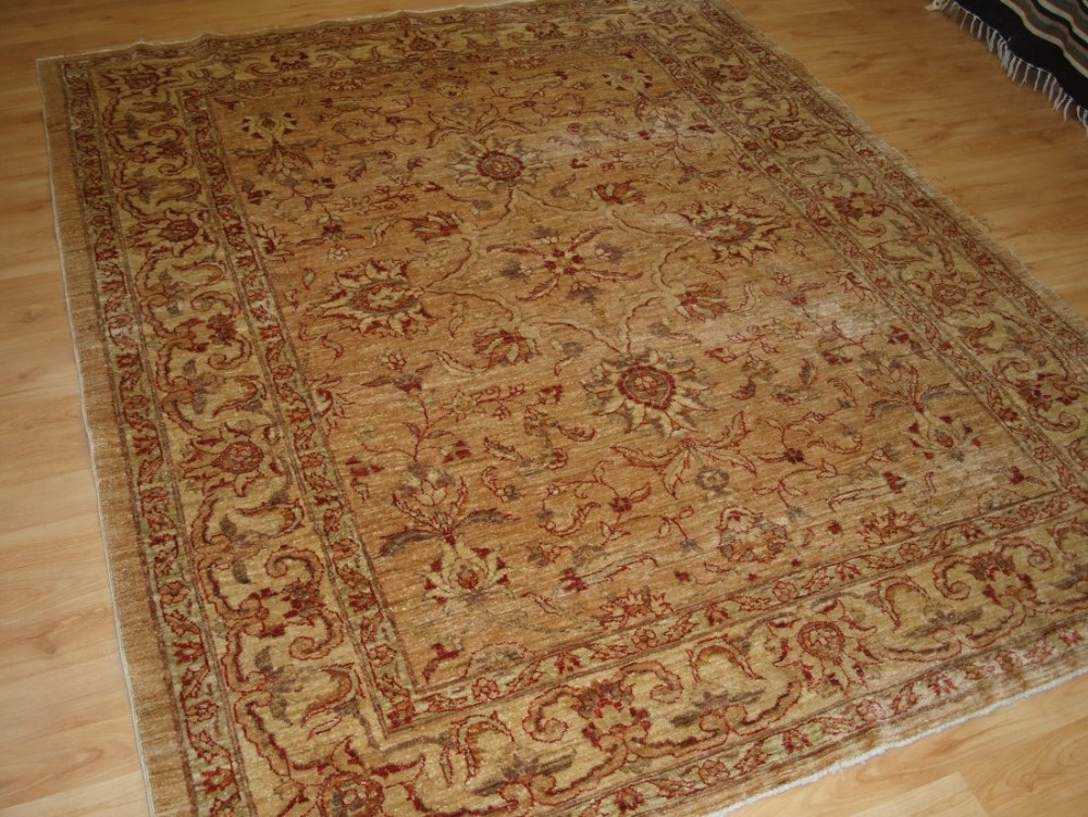 afghan ziegler design rug light colours ivory gold and burgundy about 10 years old