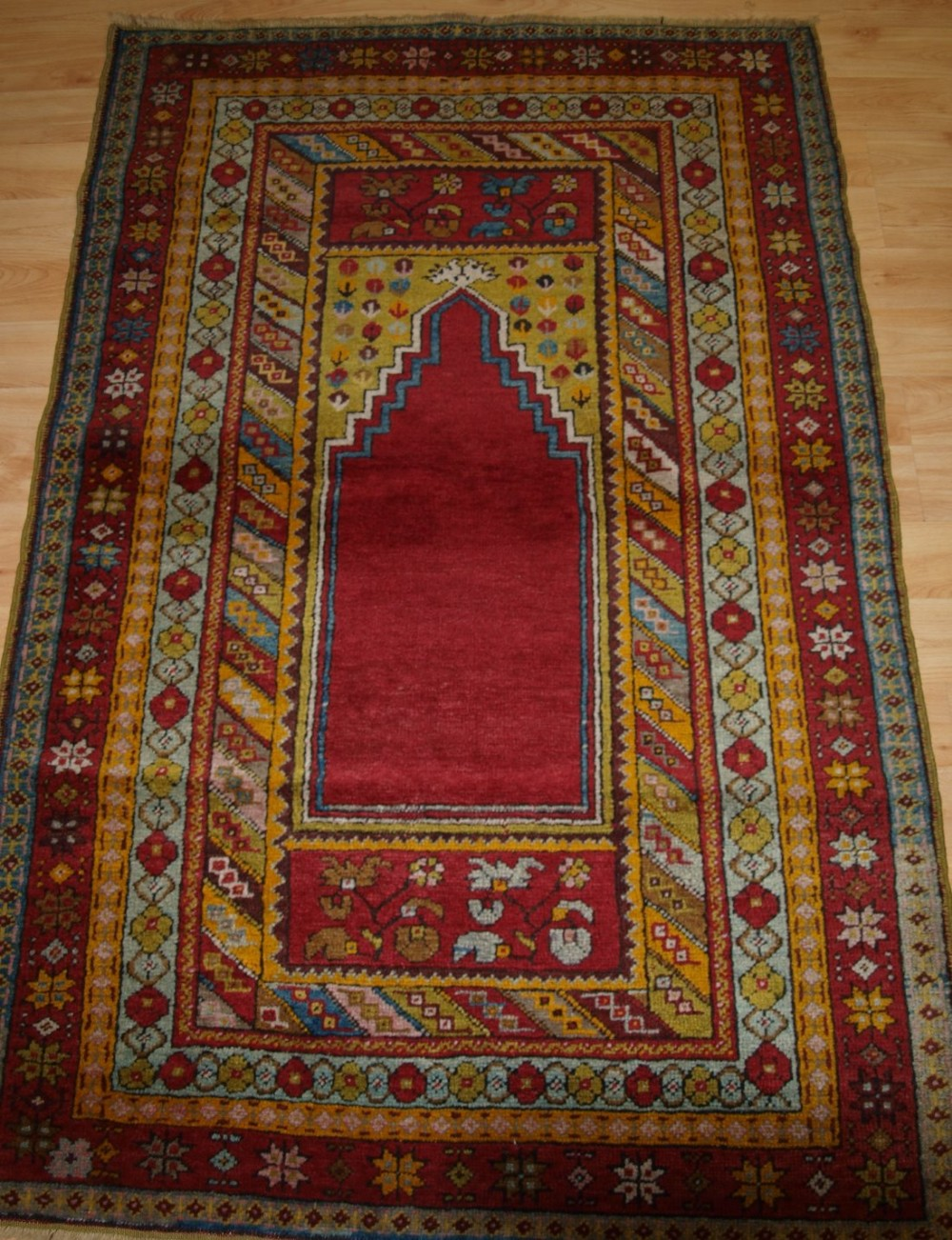 antique turkish kirsehir village prayer rug of traditional design circa 1920