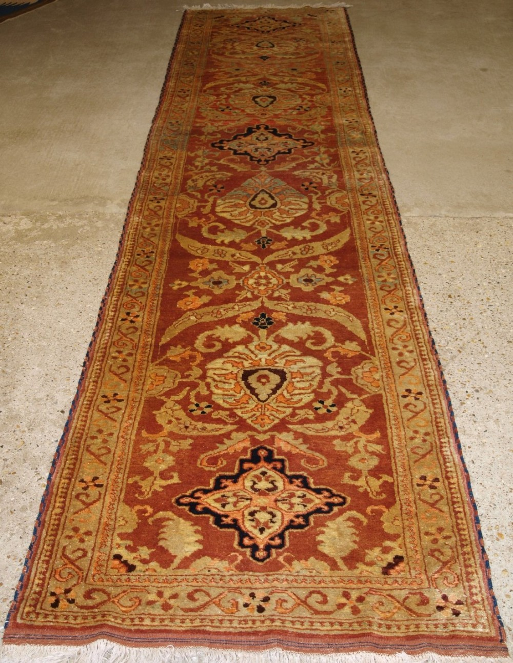 hand knotted afghan runner in 19th century turkish oushak design style