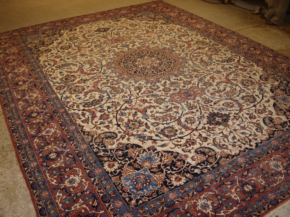 antique persian isfahan carpet stunning design on a light ivory ground circa 1920