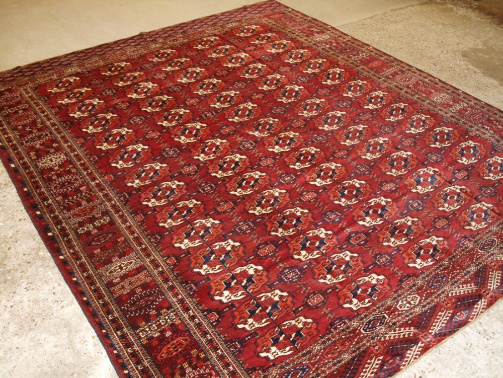 antique tekke turkmen main carpet small square size superb border design great colour circa 1880