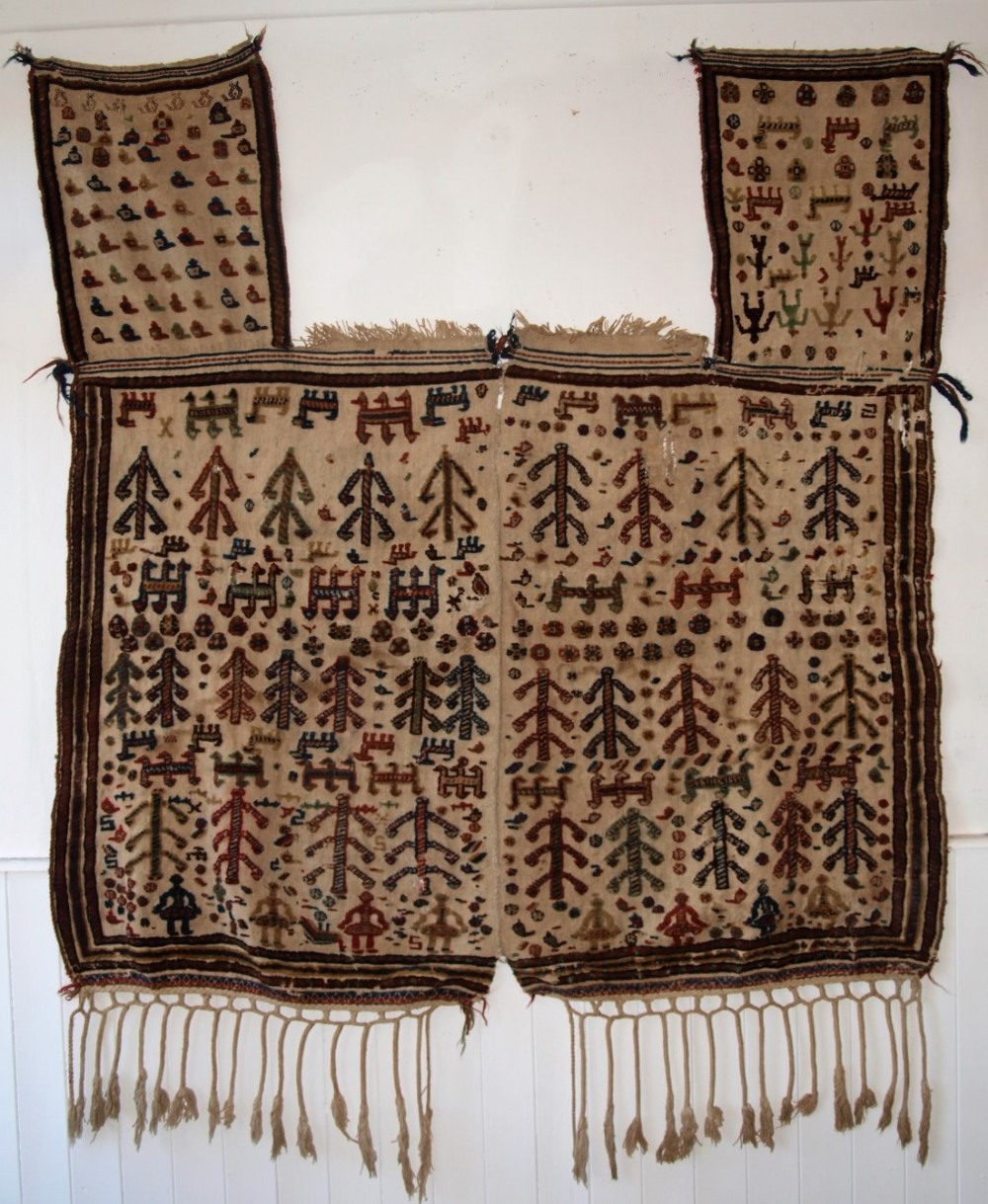 antique persian qashqai tribal horse cover blanket or rug beautifully decorated circa 1890