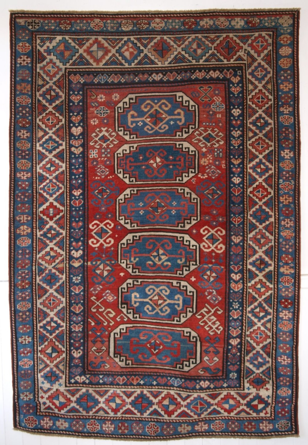 antique caucasian moghan kazak rug with octagon design great colour 2nd half 19th century