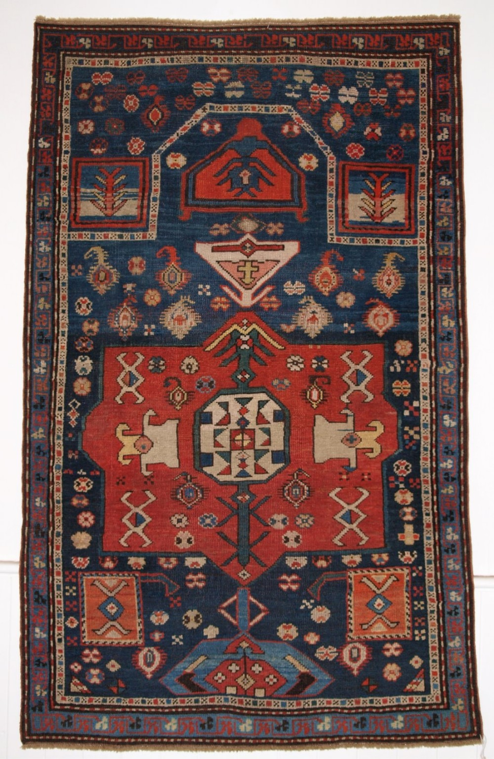 antique caucasian prayer rug karabagh region of scarce design late 19th century