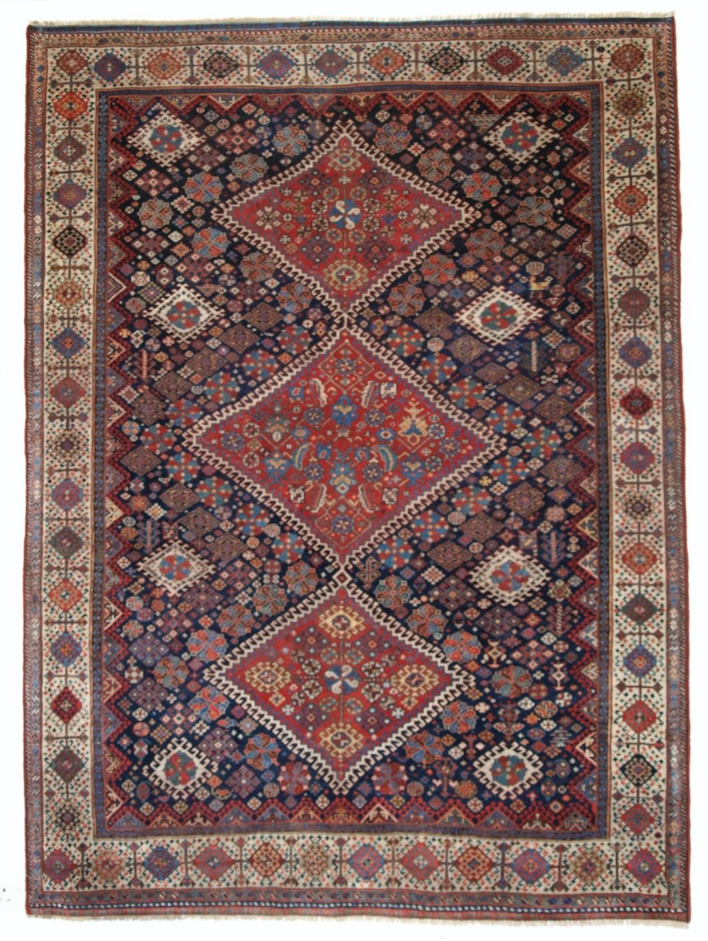 antique qashqai rug shekarlu border triple medallion superb circa 1860
