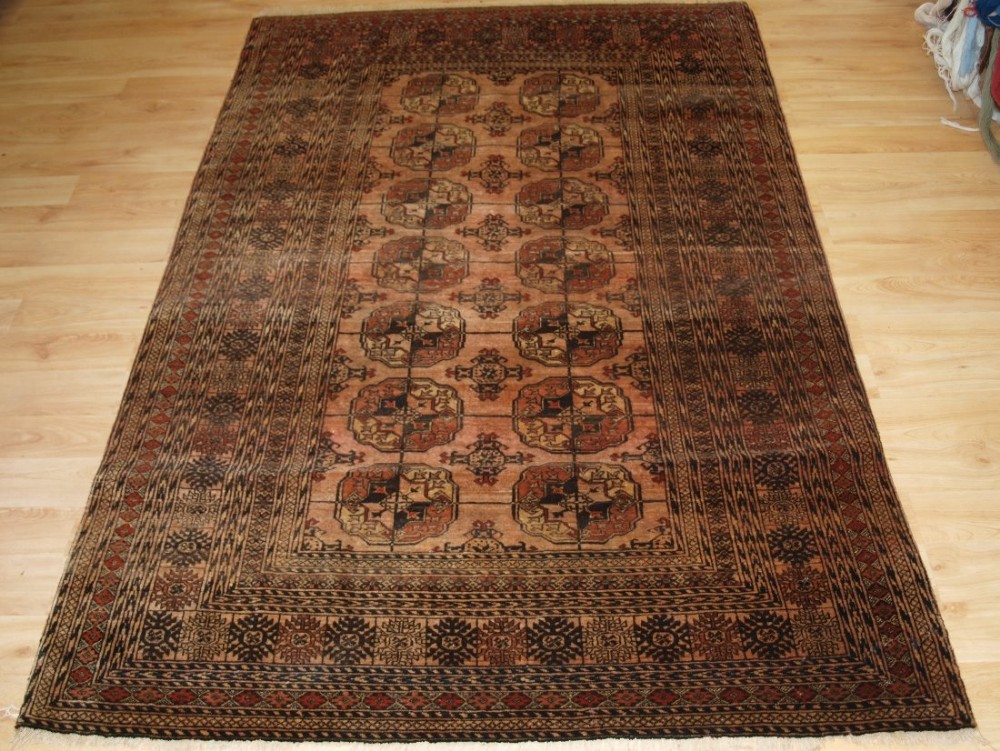 old afghan rug with turkmen design very soft faded colour great furnishing rug circa 1920