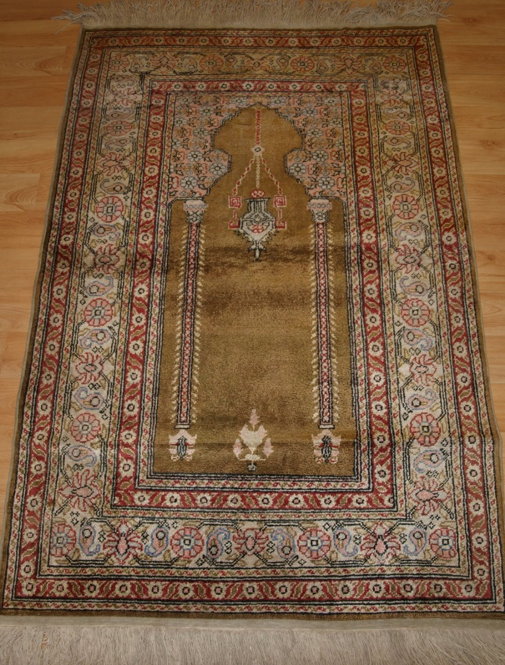 old turkish kayseri 'art silk' prayer rug traditional prayer design good colours circa 192030