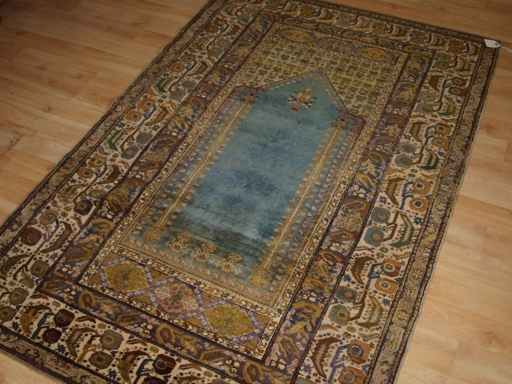 antique turkish ghiordes prayer rug sky blue field circa 190020