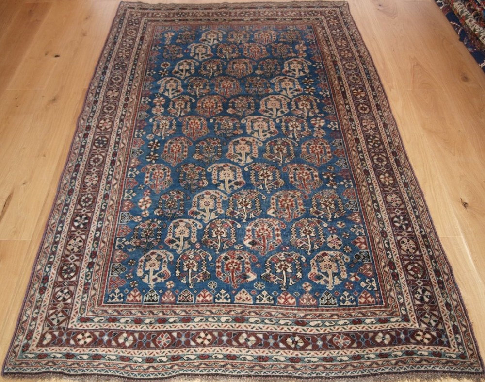 antique south west persian qashqai rug with large boteh design circa 1900