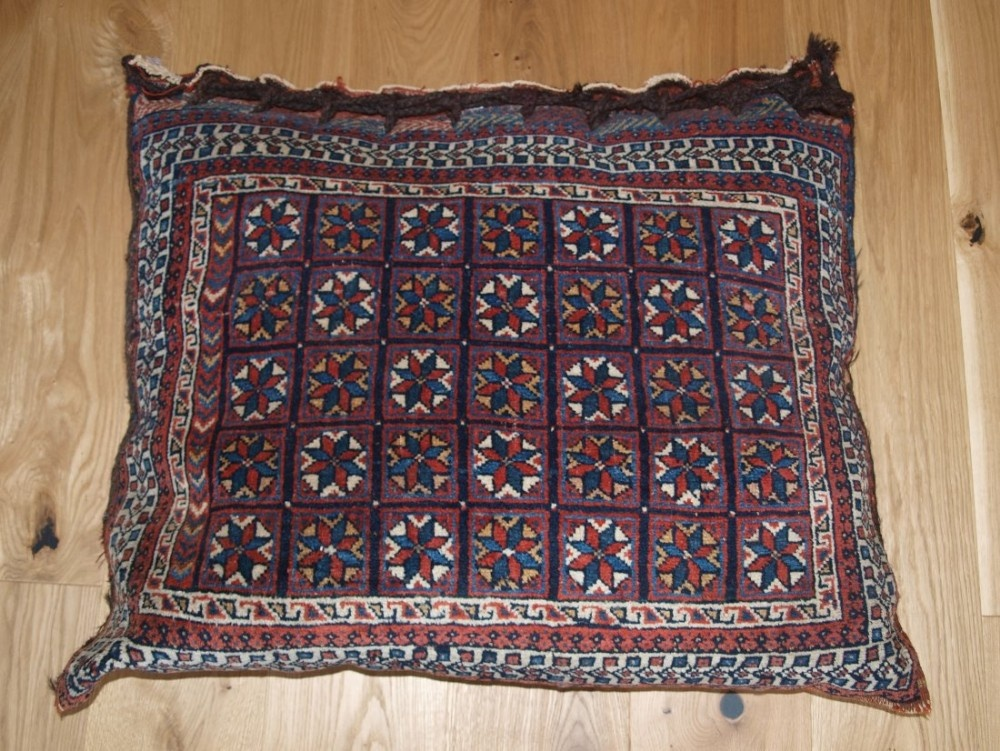 antique south persian afshar tribal saddle bag filled as a floor cushion circa 1900