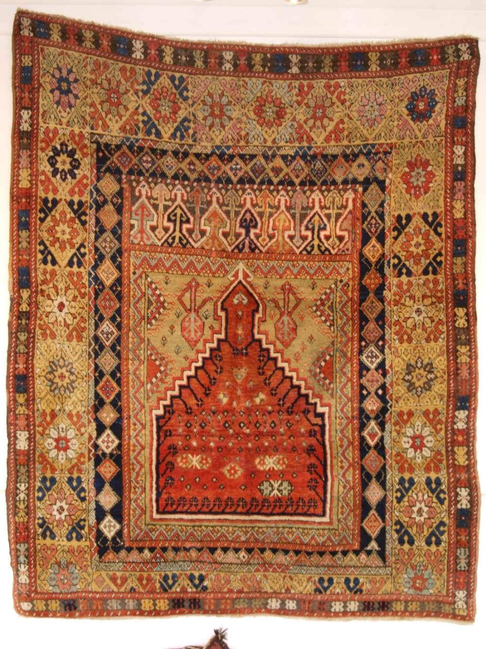 antique turkish mujur prayer rug superb colours central anatolia mid19th century