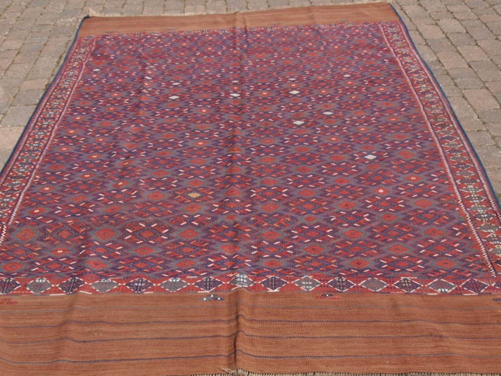antique yomut turkmen pallas soumak kilim outstanding condition long kilim ends circa 190020