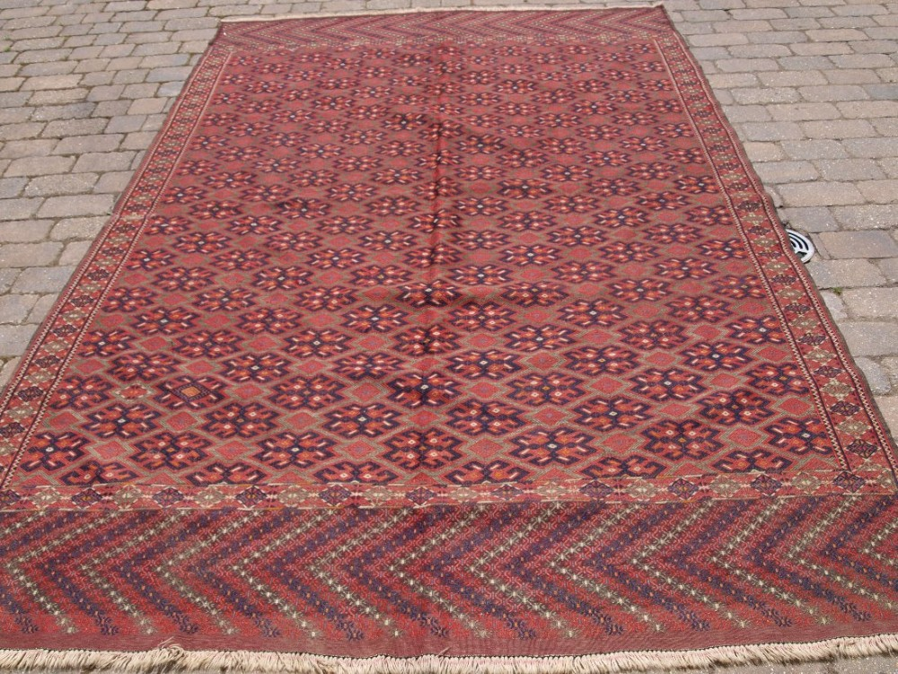 antique yomut turkmen pallas soumak kilim good condition long kilim ends with chevron design circa 190020