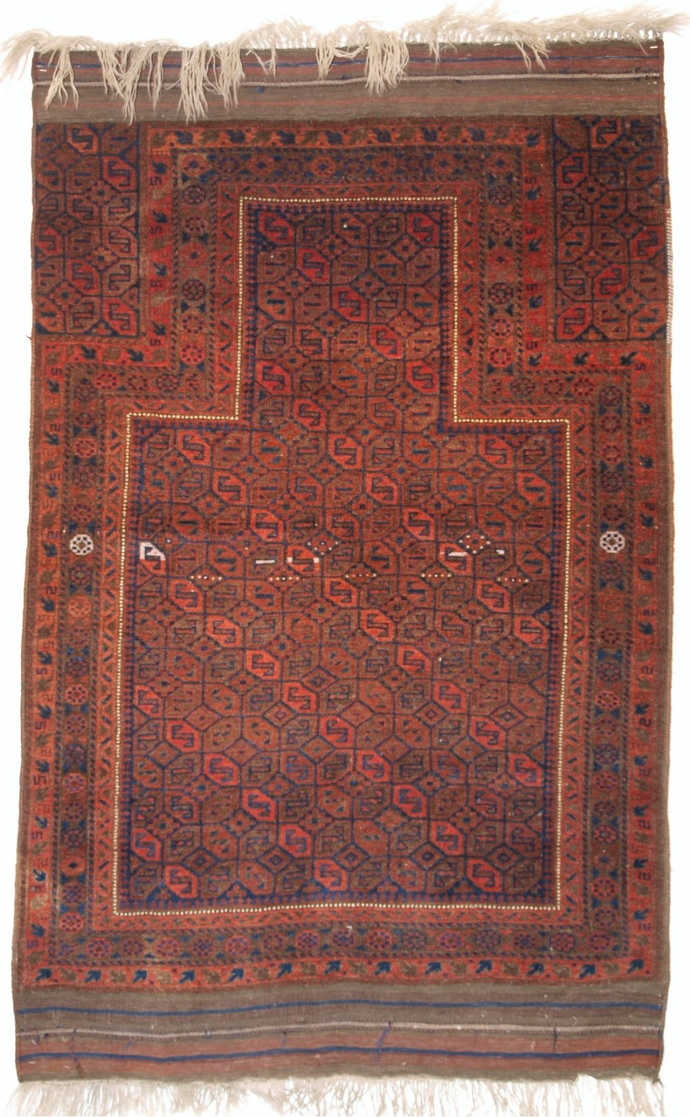 antique baluch prayer rug with 'tile' design long kilim ends late 19th century