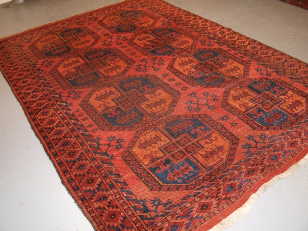 antique afghan ersari turkmen main carpet small size with very large guls circa 1900