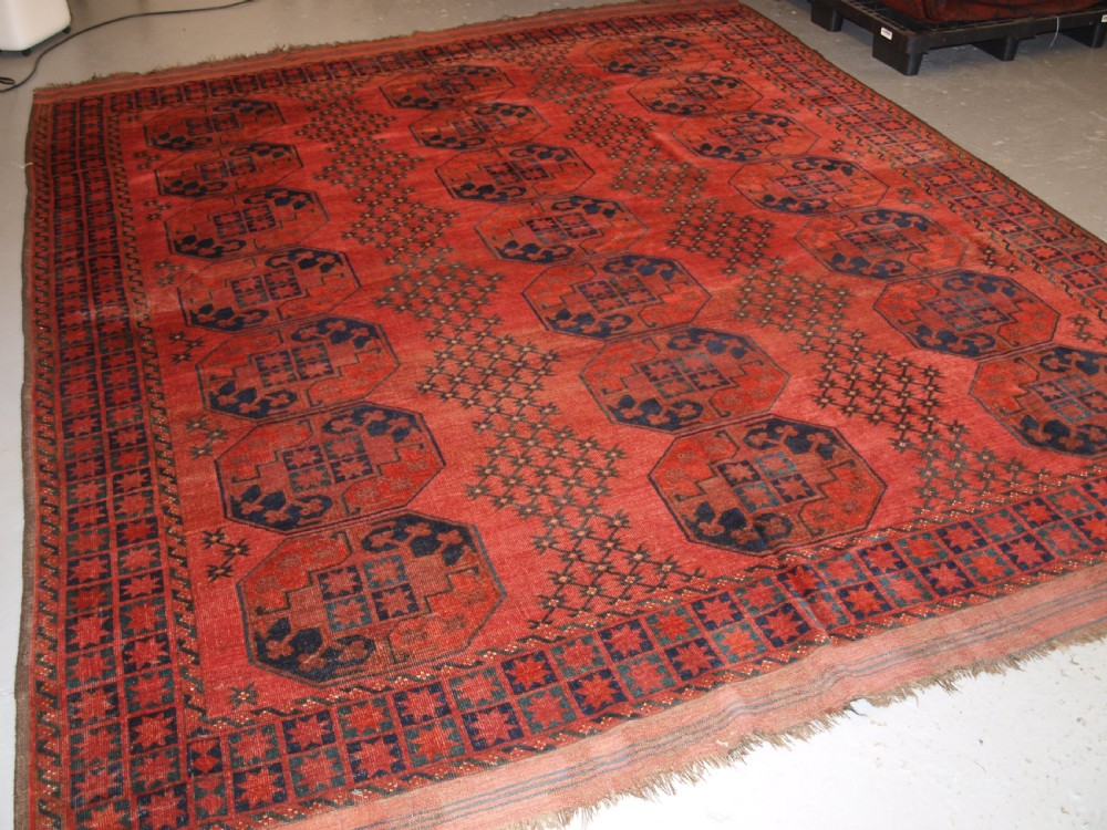 antique afghan ersari turkmen main carpet of outstanding design and colour 2nd half 19th century