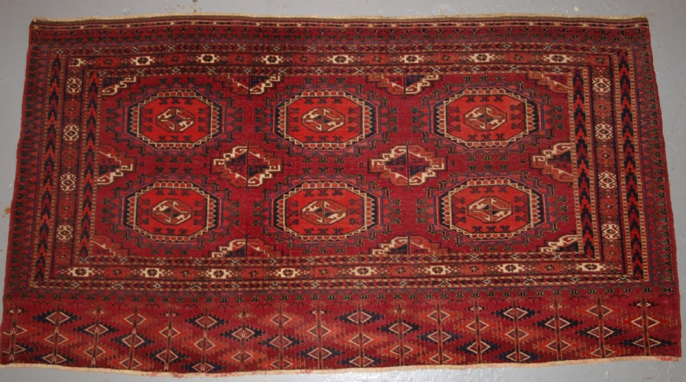 antique tekke turkmen chuval with salor guls very fine weave circa 1880
