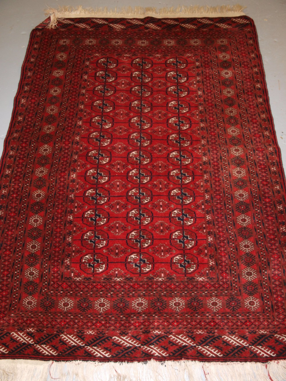 old afghan village rug very fine weave tekke turkmen design circa 1920
