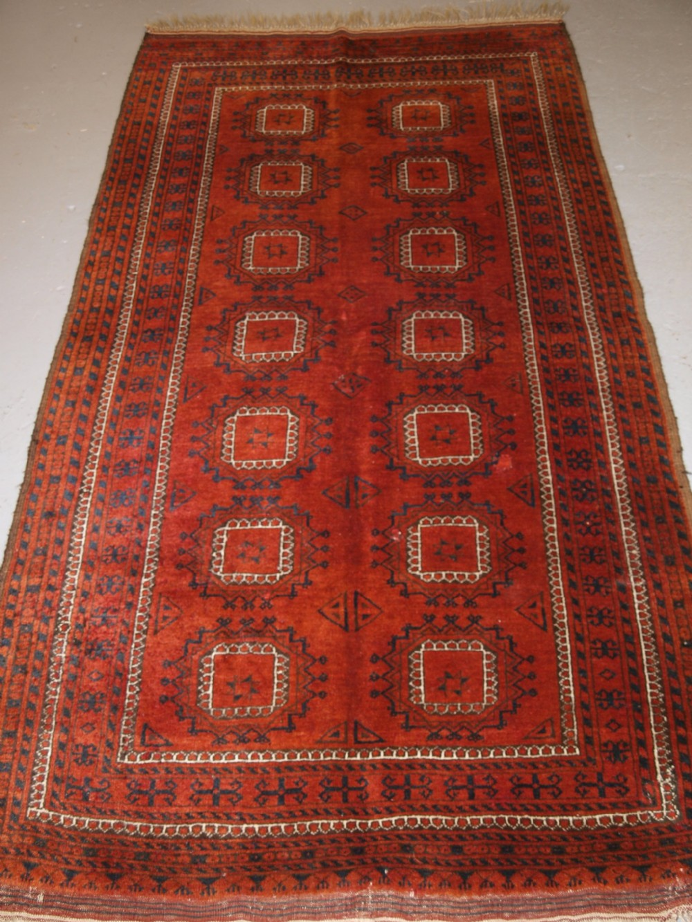 antique afghan ersari turkmen rug aranji village superb colour circa 1900